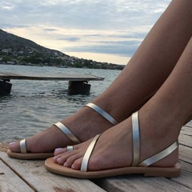 Ericdress Silver Cross Strap Toe Ring Flat Sandals