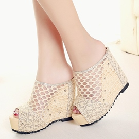 Ericdress Mesh Platform Peep Toe Wedge Mules Shoes