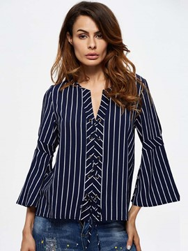 Ericdress Stripped Trumpet Blouse