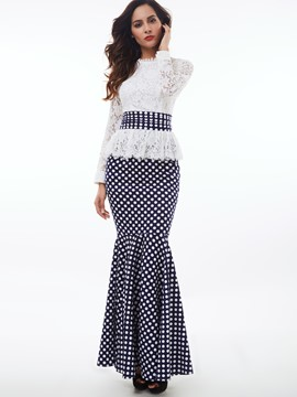 Ericdress Lace Stand Collar Polka Dots Mermaid Maxi Dress