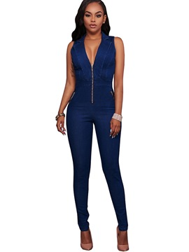 Ericdress V-Neck Sleeveless Blue Zipper Women's Jumpsuits