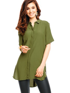 Ericdress Casual Solid Color Blouse