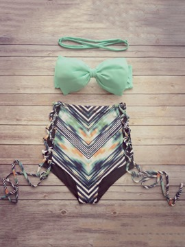 Ericdress Fashionable Stripe Color Block High-Waist Bikini Set