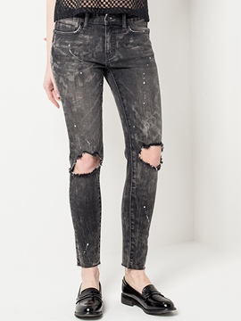 Ericdress Mid-Wais Worn-Out Denim Jeans