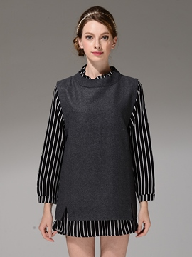 Ericdress Fake Two Pieces Patchwork Blouse