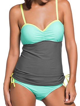Ericdress Color Block Spaghetti Strap Patchwork Tankini