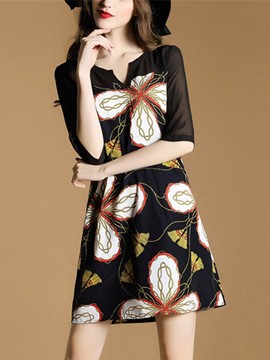 Ericdress Floral Print See-Through Half Sleeve Casual Dress