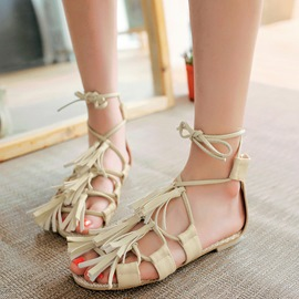 Ericdress Ethnic Tassels Lace up Flat Sandals