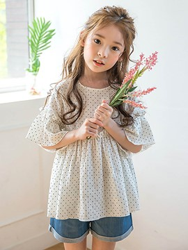 Ericdress Polka Dots T-Shirt Denim Shorts Girls Outfit