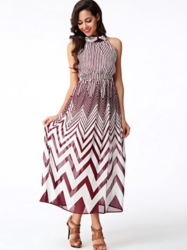 Ericdress halter geometric print sleeveless maxi kleid