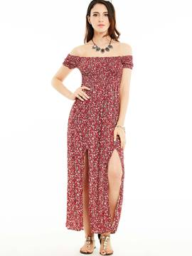 Ericdress High-Waist Flower Print Maxi Dress