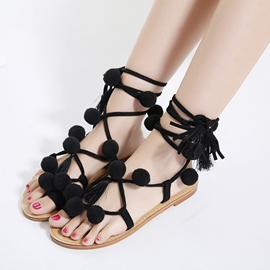 Ericdress Pom Pom Lace up Flat Sandals
