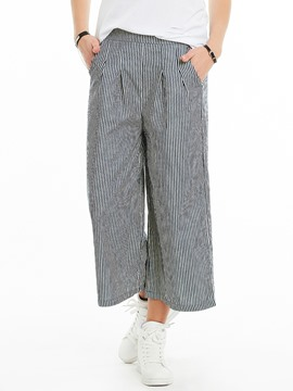Loose Stripe Mid-Calf Wide Legs Pants