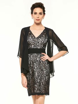 Ericdress Modest V Neck Sheath Lace Knee Length Mother Of The Bride Dress
