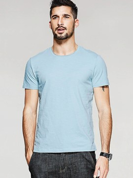 Ericdress Classic Regular Plain Short Sleeve Men's T-Shirt