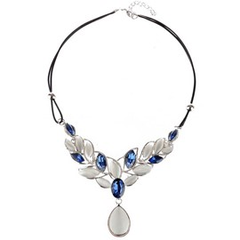 Ericdress Double Layers Leather Rope Opal Leaf Necklace