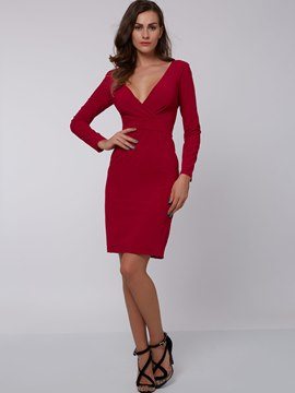 Solid Color V-Neck Backless Bodycon Dress