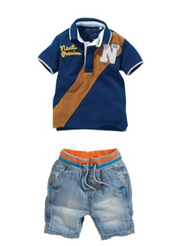 Ericdress Lapel Shirt Denim Pants Summer Boys Suit
