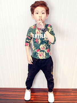 Ericdress Floral Letter Spring Boys Outfit