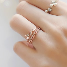 Ericdress Delicate LOVE Micro Insert Rhinestone Alloy Ring