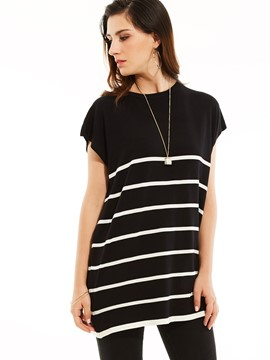 Ericdress Loose Round Neck Stripe Tunic T-shirt