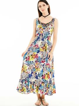 Ericdress Pastoral Spaghetti Strap Bead Maxi Dress
