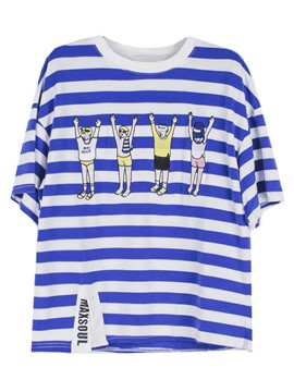 Ericdress Blue Striped Cartoon Oversized T-Shirt