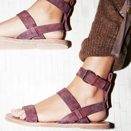 Purple Buckles Roman Flat Sandals