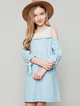 Ericdress Lace Patchwork Off-The-Shoulder Dress