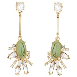 Ericdress Green Artificial Gems Inlaid Rhinestone Alloy Earrings