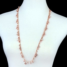 Ericdress Full Pink Rhinestone Design Rose Gold Necklace