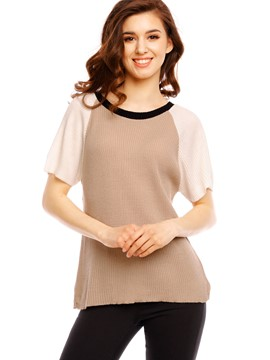 Ericdress Color BlockPatchwork T-Shirt