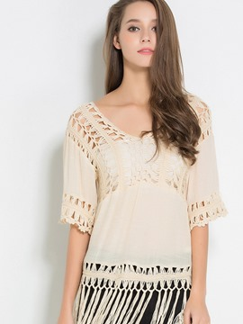 Ericdress Hollow Tassel V-Neck Blouse