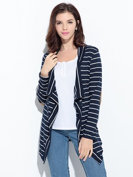 Ericdress Stripe Patchwork Casual Cardigan T-Shirt