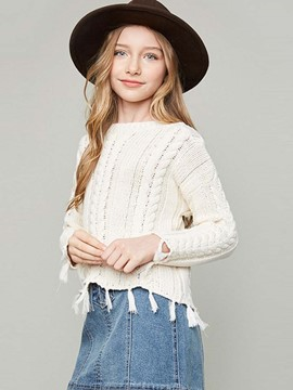 Ericdress Tassel Plain Short Girls Sweater