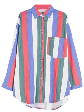 Ericdress Oversized Boyfriend Style Colorful Striped Blouse