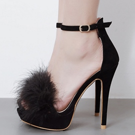 Ericdress Fashion Feather Ankle Strap Stiletto Sandals