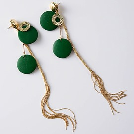 Ericdress Long Metal Texture Tassels Green Earrings