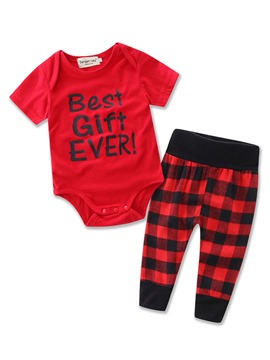 Ericdress Letter T-shirt Plaid Pants 2-Pcs Girls Outfit