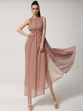 Ericdress Split Patchwork High-Waist Maxi Dress