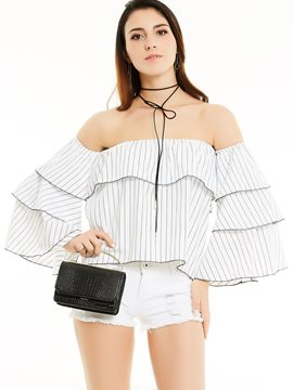Ericdress Slim Slash Neck Stripe Blouse