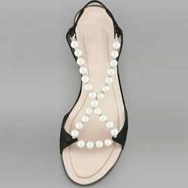 Cute Pearls Beading Flat Sandals