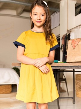 Ericdress Color Block Short Sleeves A-Line Dress