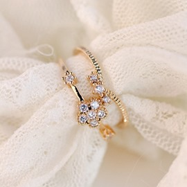 Ericdress Rhinestone Inlaid Crown & Flower Two-Pieces Ring