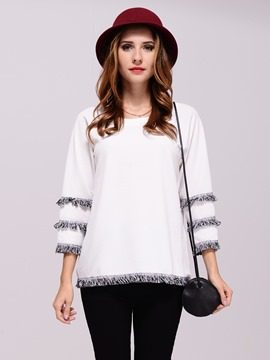 Ericdress Plain Tassel Long Sleeve T-Shirt
