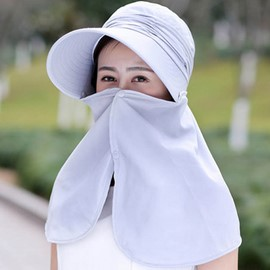 Ericdress Pure Color Outdoors Anti-UV Veil Design Sun Hat