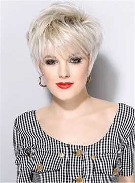 Ericdress Short Pixie Cut Straight Synthetic Hair Capless Wigs With Bangs 8 Inches