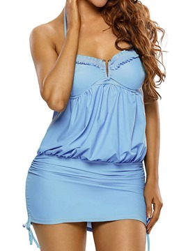 Ericdress Solid Color Pleated Halter Swimwear