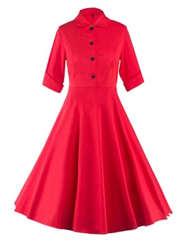 Ericdress Lapel Pleated Single-Breasted A Line Dress