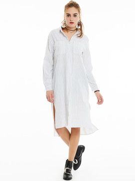 Ericdress Loose Lapel Single-Breasted Stripe Blouse